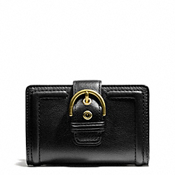 COACH CAMPBELL LEATHER BUCKLE MEDIUM WALLET - ONE COLOR - F50090