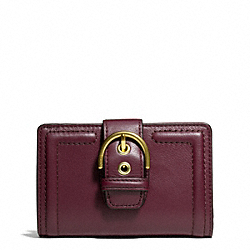 COACH CAMPBELL LEATHER BUCKLE MEDIUM WALLET - BRASS/BORDEAUX - F50090