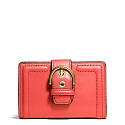 COACH CAMPBELL LEATHER BUCKLE MEDIUM WALLET - BRASS/HOT ORANGE - F50090