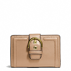COACH CAMPBELL LEATHER BUCKLE MEDIUM WALLET - BRASS/CAMEL - F50090