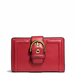 COACH CAMPBELL LEATHER BUCKLE MEDIUM WALLET - BRASS/CORAL RED - F50090