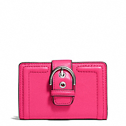 COACH CAMPBELL LEATHER BUCKLE MEDIUM WALLET - SILVER/POMEGRANATE - F50090