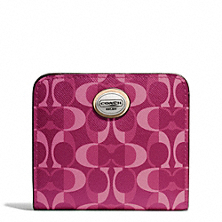 COACH PEYTON DREAM C SMALL WALLET - SILVER/BORDEAUX/TAN - F50091