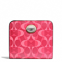 COACH PEYTON DREAM C SMALL WALLET - SILVER/BRIGHT CORAL/TAN - F50091