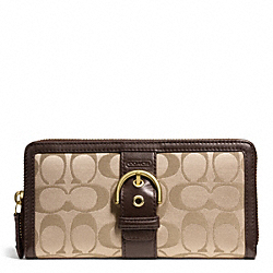 COACH CAMPBELL SIGNATURE BUCKLE ACCORDION ZIP - BRASS/KHAKI/MAHOGANY - F50095