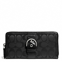 COACH CAMPBELL SIGNATURE BUCKLE ACCORDION ZIP - SILVER/BLACK - F50095