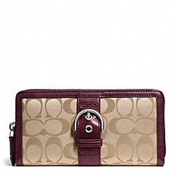 COACH CAMPBELL SIGNATURE BUCKLE ACCORDION ZIP - SILVER/KHAKI/BURGUNDY - F50095