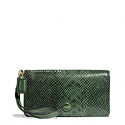 COACH SIGNATURE STRIPE EMBOSSED EXOTIC DEMI CLUTCH - BRASS/GREEN - F50107