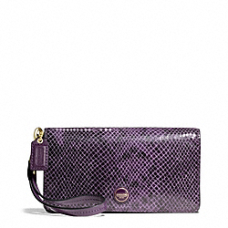 COACH SIGNATURE STRIPE EMBOSSED EXOTIC DEMI CLUTCH - BRASS/PURPLE - F50107