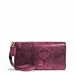 COACH SIGNATURE STRIPE EMBOSSED EXOTIC DEMI CLUTCH - BRASS/RASPBERRY - F50107