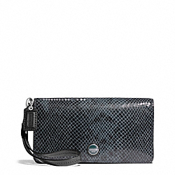 COACH SIGNATURE STRIPE EMBOSSED EXOTIC DEMI CLUTCH - SILVER/BLACK - F50107