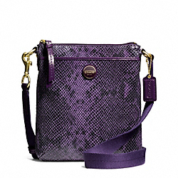 COACH SIGNATURE STRIPE EMBOSSED EXOTIC SWINGPACK - BRASS/PURPLE - F50116