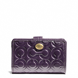 COACH PEYTON OP ART EMBOSSED PATENT MEDIUM WALLET - ONE COLOR - F50122
