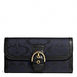 COACH CAMPBELL SIGNATURE METALLIC BUCKLE SLIM ENVELOPE - BRASS/MIDNIGHT - F50138