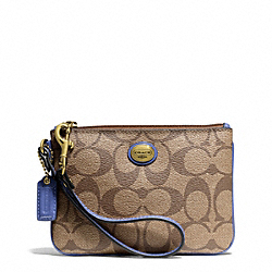 COACH PEYTON SIGNATURE SMALL WRISTLET - BRASS/KHAKI/PORCELAIN BLUE - F50142
