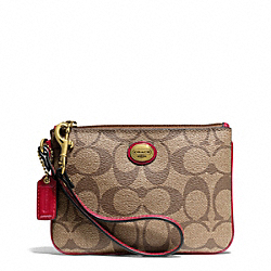 COACH PEYTON SIGNATURE SMALL WRISTLET - BRASS/KHAKI/RED - F50142