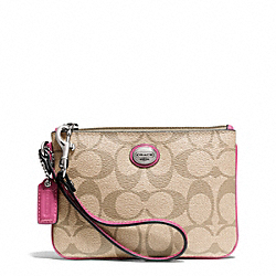 COACH PEYTON SIGNATURE SMALL WRISTLET - SILVER/LT KHAKI/STRAWBERRY - F50142