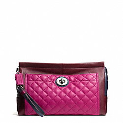PARK QUILTED LEATHER LARGE CLUTCH COACH F50147