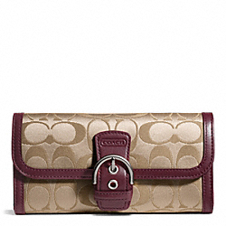 COACH CAMPBELL SIGNATURE BUCKLE SLIM ENVELOPE - SILVER/KHAKI/BURGUNDY - F50149