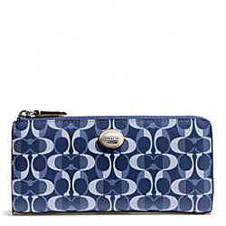 COACH PEYTON DREAM C SLIM ZIP - SILVER/DENIM/TAN - F50150