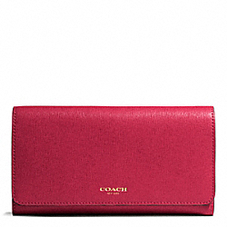 COACH SAFFIANO LEATHER CHECKBOOK WALLET - ONE COLOR - F50155
