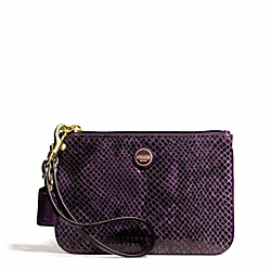 COACH SIGNATURE STRIPE EMBOSSED EXOTIC SMALL WRISTLET - BRASS/PURPLE - F50162