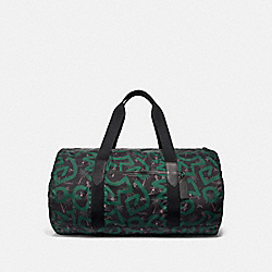 KEITH HARING PACKABLE DUFFLE WITH HULA DANCE PRINT - BLACK MULTI/BLACK ANTIQUE NICKEL - COACH F50164