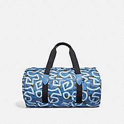KEITH HARING PACKABLE DUFFLE WITH HULA DANCE PRINT - SKY BLUE MULTI/BLACK ANTIQUE NICKEL - COACH F50164