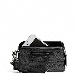 COACH POPPY SIGNATURE C MINI OXFORD DOUBLE ZIP WRISTLET - SILVER/BLACK/BLACK - F50165