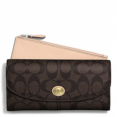 COACH PEYTON SIGNATURE SLIM ENVELOPE WITH POUCH -  - f50175