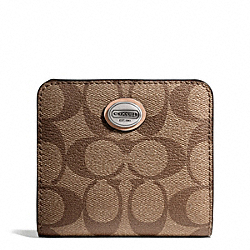 COACH PEYTON SIGNATURE SMALL WALLET - SILVER/KHAKI/TAN - F50176
