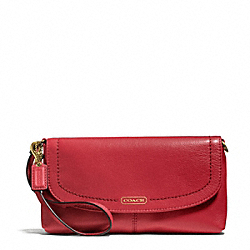 CAMPBELL LEATHER LARGE WRISTLET - f50183 - BRASS/CORAL RED