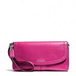 COACH CAMPBELL LEATHER LARGE WRISTLET - SILVER/FUCHSIA - F50183
