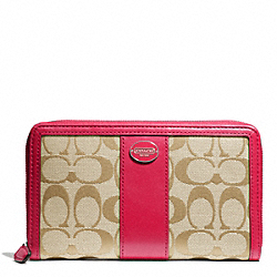 COACH SIGNATURE CONTINENTAL ZIP WALLET - SILVER/LT KHAKI/PINK SCARLET - F50194