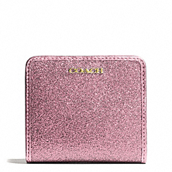 COACH GLITTER SMALL WALLET - BRASS/PINK - F50199