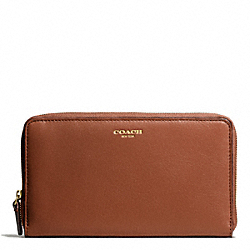 COACH LEATHER CONTINENTAL ZIP - BRASS/COGNAC - F50202