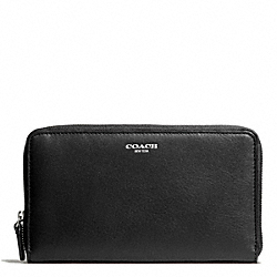 COACH LEATHER CONTINENTAL ZIP - SILVER/BLACK - F50202