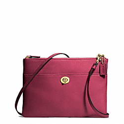 COACH LEATHER TURNLOCK CROSSBODY - BRASS/DEEP PORT - F50210
