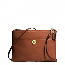 LEATHER TURNLOCK CROSSBODY - BRASS/COGNAC - COACH F50210