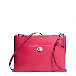 COACH LEATHER TURNLOCK CROSSBODY - SILVER/PINK SCARLET - F50210