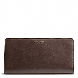 COACH MADISON LEATHER SKINNY WALLET - LIGHT GOLD/MIDNIGHT OAK - F50233