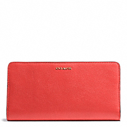 COACH MADISON LEATHER SKINNY WALLET - LIGHT GOLD/LOVE RED - F50233