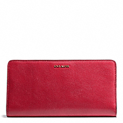 COACH MADISON LEATHER SKINNY WALLET - LIGHT GOLD/SCARLET - F50233