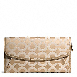 COACH MADISON OP ART SATEEN FABRIC CHECKBOOK WALLET - LIGHT GOLD/LIGHT KHAKI/CHAMPAGNE - F50251