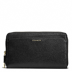 COACH MADISON LEATHER CONTINENTAL ZIP WALLET - LIGHT GOLD/BLACK - F50254
