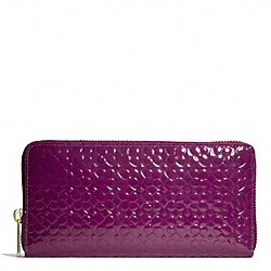 COACH WAVERLY ACCORDION ZIP WALLET IN EMBOSSED PATENT LEATHER - BRASS/PURPLE - F50261
