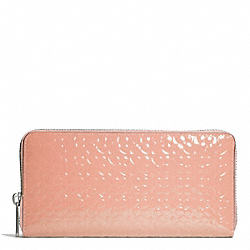 COACH WAVERLY EMBOSSED PATENT ACCORDION ZIP WALLET - SILVER/PEACH ROSE - F50261