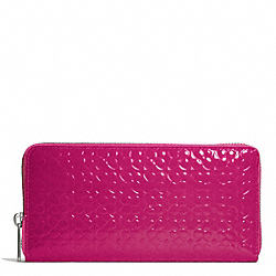 COACH WAVERLY ACCORDION ZIP WALLET IN EMBOSSED PATENT LEATHER - SILVER/MAGENTA - F50261