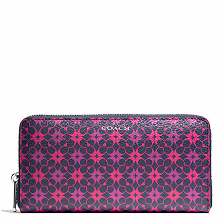 COACH WAVERLY SIGNATURE PRINT ACCORDION ZIP WALLET - SILVER/NAVY/PINK - f50273