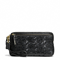 COACH POPPY SEQUIN SIGNATURE C DOUBLE ZIP WALLET - BRASS/BLACK - F50275